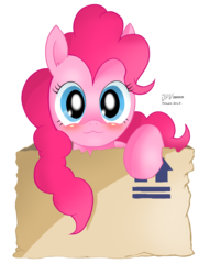 Size: 1840x2418 | Tagged: :3, artist:chilebender, blushing, cute, diapinkes, earth pony, female, looking at you, mare, package, pinkie pie, pony, raised hoof, safe, simple background, smiling, solo, transparent background