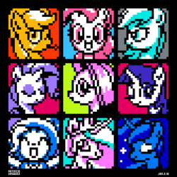 Size: 420x420 | Tagged: applejack, artist:chilebender, clothes, colored background, earth pony, eyes closed, female, fluttershy, hat, looking at you, mare, one eye closed, open mouth, pegasus, pinkie pie, pixel art, pony, princess celestia, princess luna, rainbow dash, raised hoof, rarity, safe, smiling, trixie, trixie's hat, twilight sparkle, unicorn, wink
