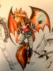 Size: 1280x1707   Tagged: safe, artist:thecaptainacobskicorncob, sunset shimmer, demon, equestria girls, converse, demon wings, shoes, sunset satan, tail, traditional art, wings
