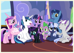 Size: 7000x5000 | Tagged: safe, artist:captnblitz, artist:chainchomp2 edit, artist:chrzanek97, artist:estories, artist:mundschenk85, artist:unfiltered-n, edit, night light, princess cadance, princess flurry heart, shining armor, spike, twilight sparkle, twilight velvet, oc, oc:nyx, oc:silverlay, alicorn, dragon, original species, pony, umbra pony, unicorn, absurd resolution, adopted, adventure in the comments, alicorn oc, alternate universe, aunt, aunt and nephew, aunt and niece, baby, baby pony, bipedal, blank flank, blushing, brother and sister, castle, closed mouth, cousins, crossover, cutie mark, daughter, day, diaper, eye slits, eyes closed, eyes open, family, father and daughter, father and mother, father and son, female, filly, foal, freckles, generations, grandfather, grandfather and grandchild, grandmother, grandmother and grandchild, group, group photo, heart, high res, holding a pony, hoofy-kicks, horn, husband, husband and wife, indoors, inside, like father like daughter, like father like son, like mother like daughter, like mother like son, like parent like child, looking at you, lying down, male, mama twilight, mare, married, mother, mother and daughter, mother and father, mother and son, ms paint, nephew, niece, offspring, open mouth, parent, pattern, pigtails, pillar, ponyloaf, prone, quadrupedal, raised hoof, rug, shadow, shield, sisters-in-law, sitting, sky, smiling, son, sparkle family, spike's family, spike's parents, spread wings, stained glass, standing, standing up, standing upright, stars, teeth, twilight sparkle (alicorn), twilight's castle, twilight's family, twilight's parents, twin sisters, twins, uncle, uncle and nephew, uncle and niece, unicorn oc, user meltdown in the comments, vector, wall, wall of tags, waving, wife, window, wingboner, wings