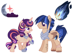 Size: 2384x1716 | Tagged: armor, artist:nazo-no-akuma, base used, brother and sister, ear piercing, earring, female, horn jewelry, jewelry, lidded eyes, male, mare, oc, oc:moonlit star, oc:tiger comet, offspring, parent:flash sentry, parents:flashlight, parent:twilight sparkle, pegasus, piercing, pony, raised hoof, safe, simple background, stallion, transparent background, unicorn, unshorn fetlocks, watermark