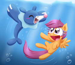 Size: 2285x2000 | Tagged: safe, artist:alittleofsomething, scootaloo, pegasus, pony, popplio, blushing, crossover, eyes closed, female, hooves, lineless, mare, open mouth, pokémon, spread wings, underwater, wings