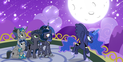 Size: 5326x2691 | Tagged: alicorn, artist:velveagicsentryyt, baby, baby pony, female, good king sombra, hoof shoes, king sombra, lumbra, mare, moon, night, oc, oc:lunais, oc:midnight moon (velvetsentryyt), oc:moonlight sonata, offspring, parent:king sombra, parent:princess luna, parents:lumbra, pony, princess luna, safe, shipping, straight, unicorn