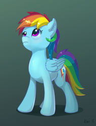 Size: 1908x2511 | Tagged: artist:xbi, gradient background, looking up, pegasus, pony, rainbow dash, safe, solo