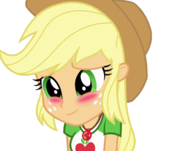 Size: 746x641 | Tagged: safe, editor:ilove-mlp18, screencap, applejack, equestria girls, equestria girls series, rollercoaster of friendship, background removed, blushing, cropped, cute, female, geode of super strength, jackabetes, simple background, transparent background