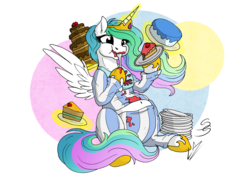 Size: 3507x2481 | Tagged: alicorn, artist:lupiarts, artist:snoopystallion, belly, belly button, cake, cakelestia, chubby, clothes, comic sins, female, food, glowing horn, magic, majestic as fuck, mare, messy eating, pony, princess celestia, safe, solo, stuffed, stuffing, weight gain