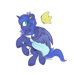 Size: 1280x1289 | Tagged: alicorn, artist:anotherdeadrat, clothes, crossover, crown, dress, female, jewelry, luma, mare, mario, pony, princess luna, regalia, rosalina, safe