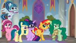 Size: 5280x3000 | Tagged: safe, artist:osipush, artist:slb94, artist:suramii, artist:themexicanpunisher, gloriosa daisy, juniper montage, sci-twi, sonata dusk, sunset shimmer, twilight sparkle, wallflower blush, earth pony, pegasus, pony, unicorn, baubles, bracelet, clothes, collar, equestria girls ponified, eyeshadow, female, flower, flower in hair, flying, freckles, glasses, hair tie, horn, jewelry, looking at you, looking down, makeup, mare, messy mane, open mouth, pigtails, ponified, ponytail, raised hoof, sitting, smiling, standing, studded bracelet, sweater, the benevolent six, unicorn sci-twi, wings