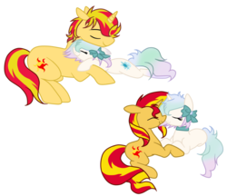 Size: 1024x885 | Tagged: artist:rollingbubblesfan, canon x oc, half r63 shipping, icyshimmer, love, my little colt, my little pony, oc, oc:icy bliss, pony, rule 63, safe, shipping, simple background, sunsetbliss, sunset glare, sunset shimmer, transparent background, unicorn