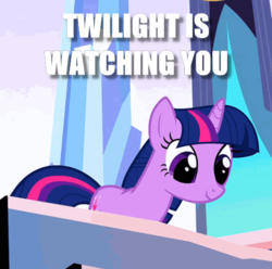 Size: 499x495 | Tagged: safe, edit, edited screencap, screencap, twilight sparkle, pony, unicorn, the crystal empire, cropped, image macro, looking down, meme, reaction image, smiling, solo, unicorn twilight, watching