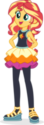 Size: 693x1976 | Tagged: alternate costumes, artist:punzil504, clothes, clothes swap, cutie mark on clothes, equestria girls, female, hands behind back, open mouth, safe, simple background, solo, sunset shimmer, sunset shimmer day, transparent background