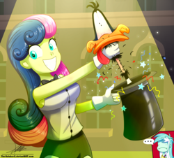 Size: 1060x960 | Tagged: safe, artist:the-butch-x, bon bon, lyra heartstrings, sweetie drops, duck, all's fair in love and friendship games, equestria girls, ..., bowtie, commission, crossover, daffy duck, female, grin, hat, looney tunes, magic trick, signature, smiling, spotlight, top hat