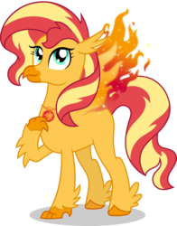 Size: 3226x4112 | Tagged: artist:sugar-loop, classical hippogriff, female, fiery shimmer, fiery wings, fire, geode of empathy, hippogriff, hippogriffied, hybrid, phoenix, safe, simple background, solo, species swap, sunset shimmer, sunset shimmer day, transparent background