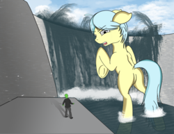 Size: 1584x1224 | Tagged: safe, artist:scribblessketch, oc, oc only, oc:anon, oc:ultramare, pony, bathing, clothes, collaboration, dam, giant pony, macro, open mouth, outdoors, pants, plot, underhoof, water, waterfall