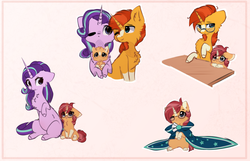 Size: 2000x1284 | Tagged: safe, artist:little-sketches, starlight glimmer, sunburst, oc, oc:pulsar, pony, unicorn, :<, :c, :o, accessory swap, baby, baby pony, belly fluff, blaze (coat marking), blushing, c:, cheek fluff, chest fluff, clothes, colored horn, colt, cute, ear fluff, excessive fluff, family, female, filly, floppy ears, fluffy, foal, frown, glare, glasses, glimmerbetes, glowing horn, hnnng, holding a pony, hug, leaning, leg fluff, lidded eyes, looking up, male, mama starlight, mare, messy mane, missing cutie mark, neck fluff, nuzzling, ocbetes, offspring, one eye closed, open mouth, oversized clothes, papa sunburst, parent:starlight glimmer, parent:sunburst, parents:starburst, pregnant, raised hoof, robe, shipping, sitting, smiling, socks (coat markings), stallion, starburst, straight, sunbetes, sunburst's cloak, sunburst's glasses, underhoof, wide eyes, wink