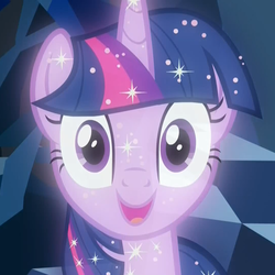 Size: 1079x1078 | Tagged: blank stare, cave, cropped, edit, edited screencap, female, implied twilight sparkle, looking at you, mare, pony, reaction image, safe, screencap, smiling, solo, sparkles, sparkling, treelight sparkle, tree of harmony, unicorn, what lies beneath, wide eyes