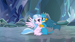 Size: 1920x1080   Tagged: safe, screencap, gallus, silverstream, classical hippogriff, griffon, hippogriff, what lies beneath, cute, diastreamies, duo, female, gallabetes, hug, male, shipping fuel, smiling