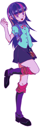 Size: 298x936 | Tagged: safe, artist:akomaru, twilight sparkle, human, equestria girls, clothes, female, leg warmers, looking at you, miniskirt, open mouth, pleated skirt, shoes, simple background, skirt, smiling, solo, white background