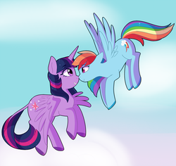 Size: 2434x2294 | Tagged: alicorn, artist:emera33, boop, cute, dashabetes, female, flying, lesbian, looking at each other, mare, noseboop, pegasus, pony, rainbow dash, safe, shipping, simple background, sky, smiling, twidash, twilight sparkle, twilight sparkle (alicorn), white background