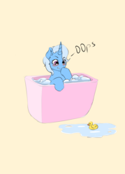 Size: 4000x5583 | Tagged: 30minuteschallenge, artist:kittytitikitty, bath, blushing, cute, diatrixes, rubber duck, safe, trixie