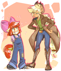 Size: 1300x1500 | Tagged: anthro, apple bloom, applejack, artist:thegreatrouge, banana, boots, clothes, dishonorapple, female, food, hands behind back, nervous, overalls, pants, safe, shoes, siblings, sisters