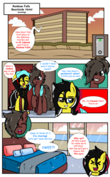 Size: 2369x3830 | Tagged: artist:takaneko13, clothes, comic, comic:sleep over, dialogue, earth pony, female, hotel, hotel room, male, mare, oc, oc:cyser, oc:zedwin, safe, stallion, towel