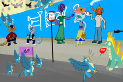 Size: 2400x1600 | Tagged: safe, artist:horsesplease, capper dapperpaws, chummer, gallus, ocellus, stygian, tianhuo, anthro, bird, biteacuda, fish, griffon, pigeon, them's fightin' herds, my little pony: the movie, alcohol, beer, behaving like a rooster, bottle, chewing, cigarette, crowing, cuneiform, dresiarz, eating, fan, flag, gallus coop, gallus the rooster, gopnik, griffonstone, hittite, mane of fire, multeity, nom, paint tool sai, parade, random, road, sign, smoking, teapot, tianhuo and a road sign, walking campfire