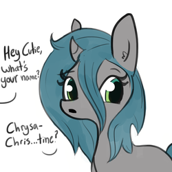 Size: 1280x1280 | Tagged: artist:tjpones, dialogue, disguise, disguised changeling, female, mare, offscreen character, pony, queen chrysalis, safe, solo, unicorn