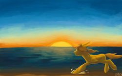 Size: 2000x1236 | Tagged: artist:sunnytp, link, ocean, ponified, pony, running, safe, solo, sunset, the legend of zelda