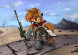 Size: 1280x905 | Tagged: artist:calena, bat pony, cyberpunk, gun, looking at you, oc, oc only, safe, solo, wasteland, weapon