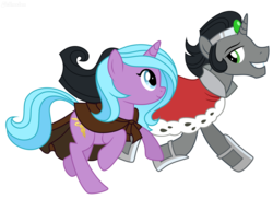 Size: 7922x5755 | Tagged: safe, artist:jellmelon, king sombra, radiant hope, pony, unicorn, idw, siege of the crystal empire, absurd resolution, clothes, duo, female, good king sombra, male, mare, simple background, smiling, stallion, transparent background, vector