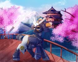 Size: 2000x1600 | Tagged: safe, artist:skylacuna, oc, oc only, oc:shiro reisu, pony, armor, badass, bridge, cherry blossoms, clothes, commission, flower, flower blossom, japanese, katana, levitation, magic, mon, pond, samurai, scenery, scenery porn, sword, tack, telekinesis, temple, tokugawa, tree, weapon