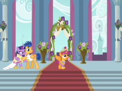 Size: 1024x768 | Tagged: alicorn, alicornified, artist:turnaboutart, base used, clothes, coronation, coronation dress, crown, dress, female, flashlight, flash sentry, jewelry, male, race swap, regalia, rule 63, safe, scootacorn, scootaloo, shipping, skatercorn, skaterloo (rule 63), straight, suit, twilight sparkle, twilight sparkle (alicorn)