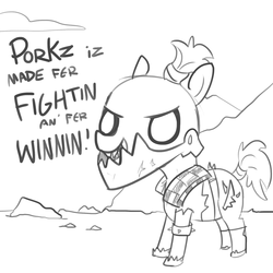 Size: 1280x1280 | Tagged: safe, artist:tjpones, earth pony, ork, pony, armor, dat's orky, dialogue, grayscale, hogz, iron gob, lineart, monochrome, orks in the comments, ponified, simple background, solo, waaagh!, warhammer (game), warhammer 40k, white background