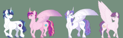 Size: 1600x505 | Tagged: artist:ganashiashaka, female, glasses, green background, male, oc, oc:shining breeze, offspring, older, parent:princess cadance, parent:shining armor, parents:shiningcadance, pegasus, pony, princess cadance, princess flurry heart, safe, shining armor, shiningcadance, shipping, simple background, stallion, straight