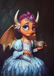 Size: 850x1200   Tagged: safe, artist:assasinmonkey, smolder, dragon, what lies beneath, beautiful, clothes, cup, cute, digital painting, dragoness, dress, female, girly, lipstick, princess smolder, smolderbetes, solo, teacup
