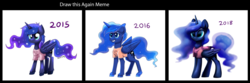 Size: 1893x631 | Tagged: alicorn, artist:ravensunart, blame my sister, clothes, comparison, drawing meme, draw this again, folded wings, princess luna, redraw, safe, solo