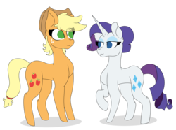 Size: 1024x763 | Tagged: applejack, artist:tomboygirl45, cute, female, lesbian, pony, rarijack, rarity, safe, shipping, simple background, transparent background