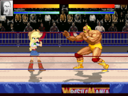 Size: 640x480 | Tagged: applejack, crossover, equestria girls, hulk hogan, mugen, safe, wrestlemania, wrestling ring, wwe