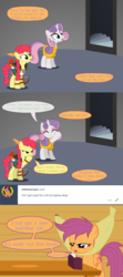 Size: 3200x7200 | Tagged: safe, artist:gm-scoots, apple bloom, scootaloo, sweetie belle, comic:bleeding hearts, arrow, banana, bard, bow (weapon), bow and arrow, cutie mark crusaders, dungeons and dragons, fantasy class, feather, food, laughing, older, oubliette, pen and paper rpg, ranger, rpg, scootaloo will show us games to play, tumblr, weapon