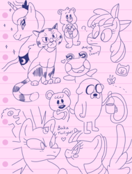 Size: 997x1314 | Tagged: adventure time, apple bloom, artist:donkeyinthemiddle, care bears, female, jake the dog, lesbian, princess luna, safe, shipping, sketch, sketch dump, tempestlight, tempest shadow, twilight sparkle
