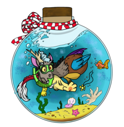 Size: 2336x2398 | Tagged: artist:glitterstar2000, bottle, clam, discord, draconequus, fish, implied dislestia, implied princess celestia, implied shipping, implied straight, jewelry, necklace, pearl, reaching, safe, seaweed, simple background, snorkel, solo, transparent background, underwater