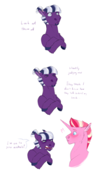 Size: 1024x1755 | Tagged: safe, artist:vindhov, oc, oc only, oc:inkwell, oc:riposte, earth pony, pony, unicorn, colored hooves, comic, cousins, crossed hooves, duo, exclamation point, interrobang, male, offspring, parent:flash sentry, parent:princess cadance, parent:shining armor, parent:twilight sparkle, parents:flashlight, parents:shiningcadance, question mark, simple background, stallion, transparent background