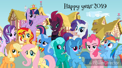 Size: 1366x766 | Tagged: alicorn, applejack, artist:徐詩珮, big crown thingy, counterparts, fluttershy, glitter drops, jewelry, mane six, pinkie pie, ponyville, rainbow dash, rarity, regalia, safe, spring rain, starlight glimmer, sunset shimmer, tempest shadow, trixie, twilight's counterparts, twilight sparkle, twilight sparkle (alicorn)