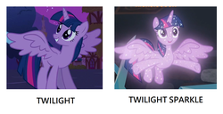 Size: 1364x700 | Tagged: alicorn, bad pun, cropped, edit, edited screencap, female, magical mystery cure, mare, pony, pun, safe, screencap, sparkles, spread wings, treelight sparkle, twilight sparkle, twilight sparkle (alicorn), what lies beneath, wings