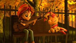 Size: 1920x1080 | Tagged: 3d, acoustic guitar, artist:aeridiccore, artist:jarg1994, artist:stefano96, bench, clothes, crossed hooves, duality, equestria girls, eyes closed, fence, human ponidox, jacket, leather jacket, listening, open mouth, pony, prone, safe, self paradox, self ponidox, singing, source filmmaker, sunset shimmer, sunset shimmer day, tree
