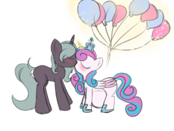 Size: 1600x1200 | Tagged: adult, alicorn, artist:rubyg242, balloon, blushing, canon x oc, couple, duo, eyes closed, female, glowing horn, husband and wife, kissing, magic, male, married couple, multiple pregnancy, oc, oc:shimmering glow, offspring, offspring shipping, older, older flurry heart, parent:king sombra, parent:radiant hope, parents:hopebra, pregnant, princess flurry heart, safe, shipping, straight, unicorn