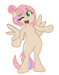Size: 1200x1536 | Tagged: artist:spheedc, bipedal, digital art, female, mare, oc, oc:sweet skies, one eye closed, pegasus, safe, semi-anthro, simple background, solo, transparent background, wink