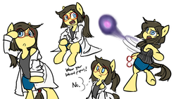Size: 2732x1536 | Tagged: artist:spheedc, bipedal, clothes, digital art, earth pony, energy blast, female, glasses, lab coat, mare, oc, oc:sphee, ponytail, pouting, safe, semi-anthro, shoulder, simple background, solo, speech bubble, white background