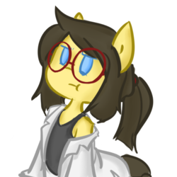 Size: 700x700 | Tagged: artist:spheedc, bipedal, clothes, digital art, earth pony, female, glasses, lab coat, mare, oc, oc:sphee, ponytail, pouting, safe, semi-anthro, shoulder, simple background, solo, transparent background